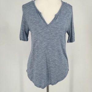 Madewell Women's Light Blue Striped Top Tee Size M